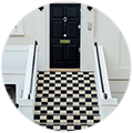Checkered stairs to home door